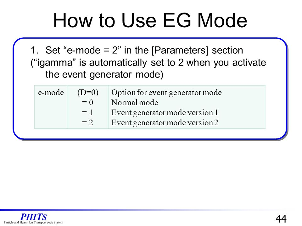 How to Use EG Mode Set e-mode = 2 in the [Parameters] section